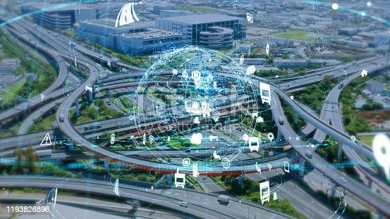 904420364istockphoto Transportation and technology concept. IoT (Internet of Things). Communication network. 1193826896