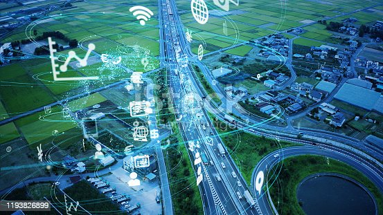 904420364istockphoto Transportation and technology concept. IoT (Internet of Things). Communication network. 1193826899