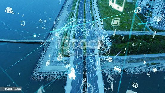904420364istockphoto Transportation and technology concept. IoT (Internet of Things). Communication network. 1193826900