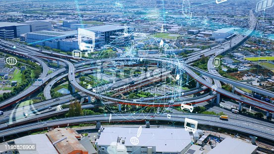 904420364istockphoto Transportation and technology concept. IoT (Internet of Things). Communication network. 1193826906