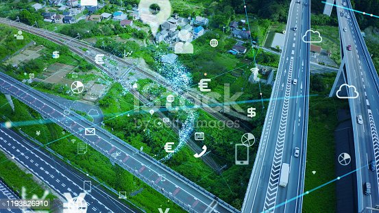 904420364istockphoto Transportation and technology concept. IoT (Internet of Things). Communication network. 1193826910