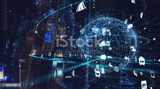 904420364istockphoto Transportation and technology concept. IoT (Internet of Things). Communication network. 1193826912