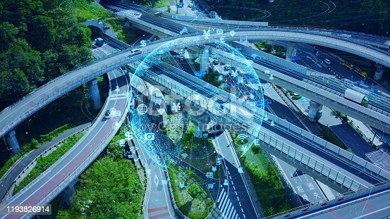 904420364istockphoto Transportation and technology concept. IoT (Internet of Things). Communication network. 1193826914