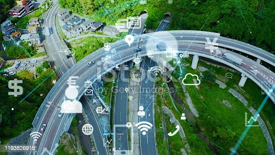 904420364istockphoto Transportation and technology concept. IoT (Internet of Things). Communication network. 1193826915