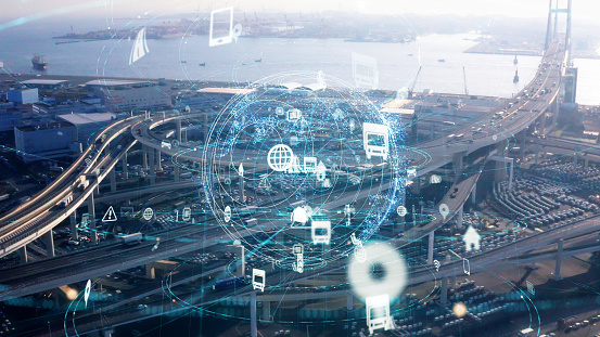 613881746 istock photo Transportation and technology concept. ITS (Intelligent Transport Systems). Mobility as a service. 1210343370