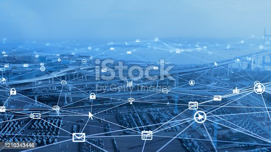1140961203 istock photo Transportation and technology concept. ITS (Intelligent Transport Systems). Mobility as a service. 1210343446