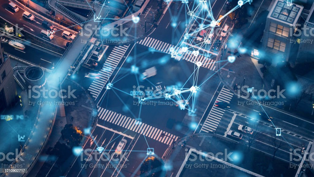 Transportation and technology concept. ITS (Intelligent Transport Systems). Mobility as a service. - Royalty-free 5G Stock Photo
