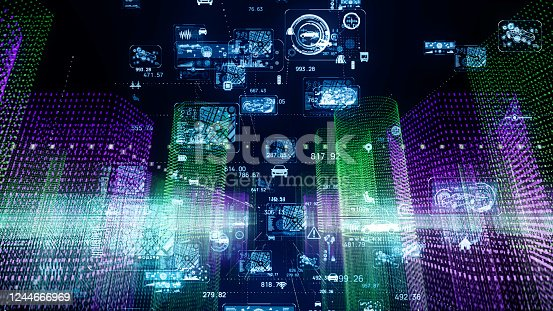 1129543876 istock photo Transportation and technology concept. ITS (Intelligent Transport Systems). Mobility as a service. 1244666969