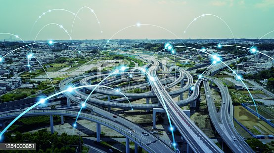 1140961203 istock photo Transportation and technology concept. ITS (Intelligent Transport Systems). Mobility as a service. 1254000651