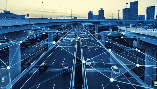 613881746 istock photo Transportation and technology concept. ITS (Intelligent Transport Systems). Mobility as a service. 1263350187