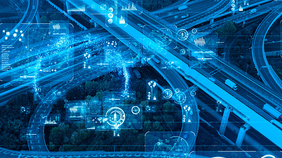 istock Transportation and technology concept. ITS (Intelligent Transport Systems). 1154360045