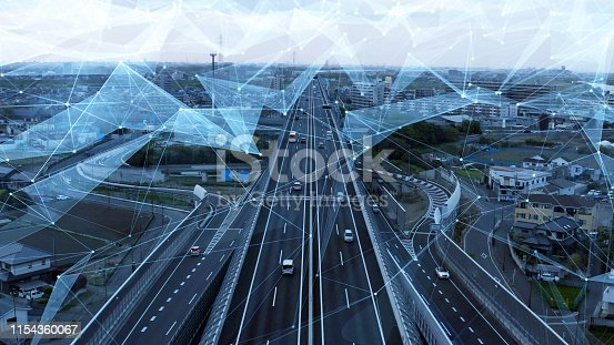 istock Transportation and technology concept. ITS (Intelligent Transport Systems). 1154360067
