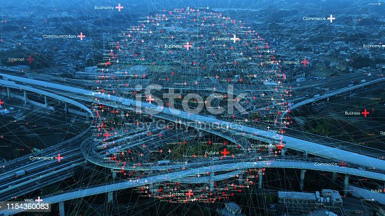 istock Transportation and technology concept. ITS (Intelligent Transport Systems). 1154360083