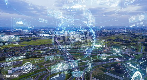1140961203 istock photo Transportation and technology concept. ITS (Intelligent Transport Systems). 1196912203