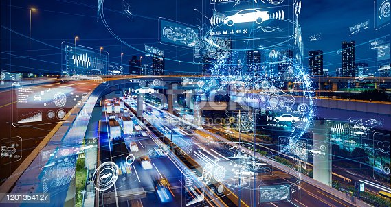 1140961203 istock photo Transportation and technology concept. ITS (Intelligent Transport Systems). 1201354127