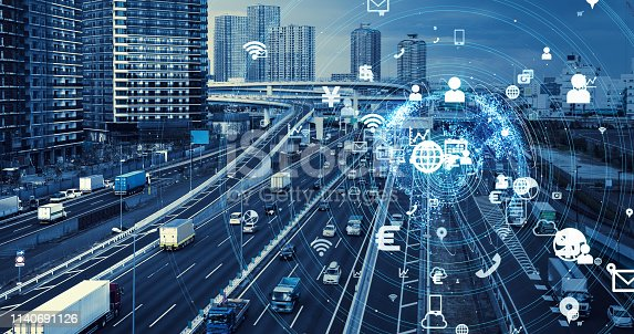istock Transportation and technology concept. 1140691126