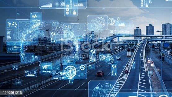 istock Transportation and technology concept. 1140961213
