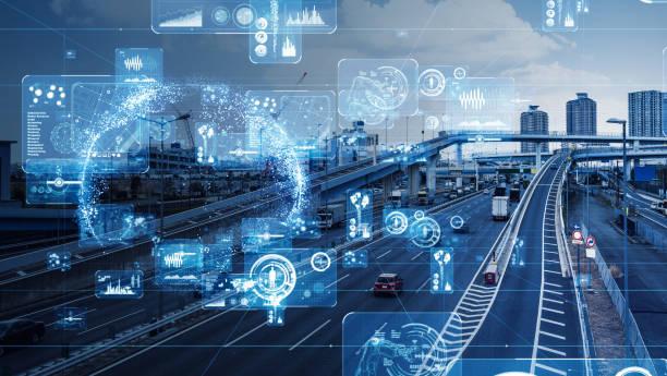 Transport-och teknik koncept. bildbanksfoto