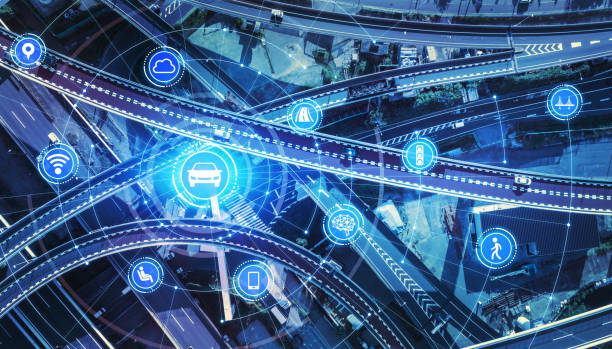 Transportation and wireless communication network concept. Automotive technology. 5G. Internet of Things. Transportation and wireless communication network concept. Automotive technology. 5G. Internet of Things. elevated road stock pictures, royalty-free photos & images