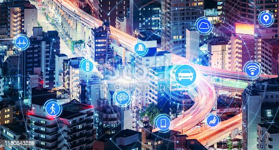 istock Transportation and wireless communication network concept. Automotive technology. 5G. Internet of Things. 1180543286