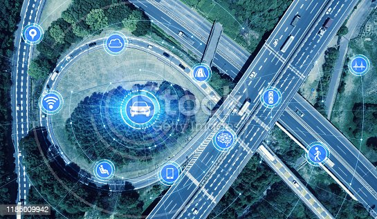 668312520 istock photo Transportation and wireless communication network concept. Automotive technology. 5G. Internet of Things. 1185009942