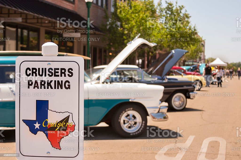 Transportation:  Classic vintage vehicle show in downtown city area. royalty-free stock photo