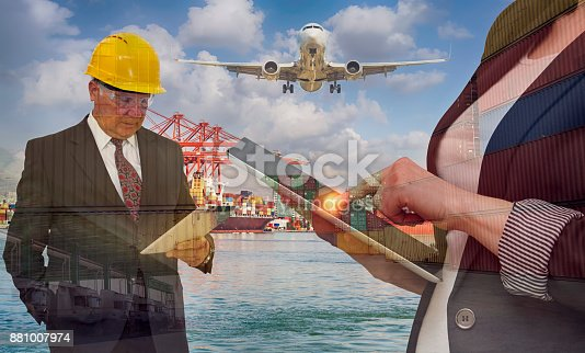 638310484 istock photo Transportation concept with businesswoman and her boss - Multi Exposure 881007974