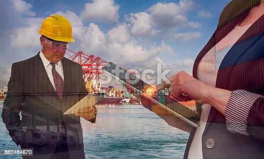 638310484 istock photo Transportation concept with businesswoman and her boss - Multi Exposure 882484670