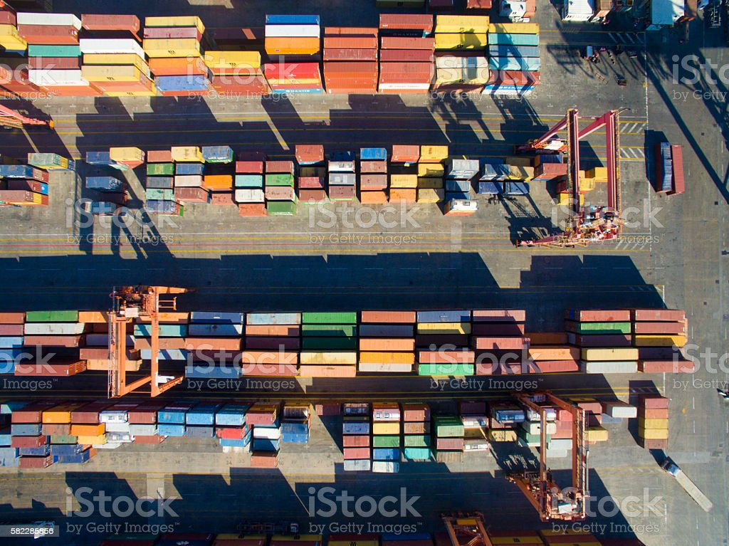 Transportation Dock with Containers stock photo