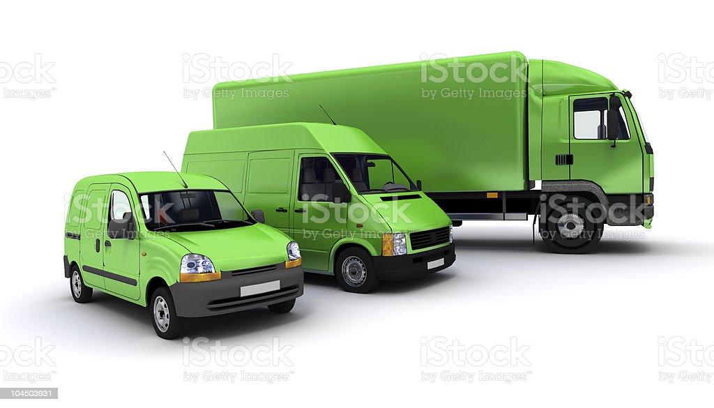 Transportation fleet in green stock photo