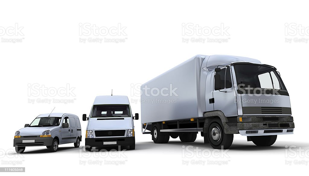 Transportation fleet in white stock photo