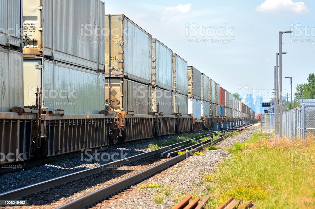 Transportation Freight Train And Containers Enter A Big City