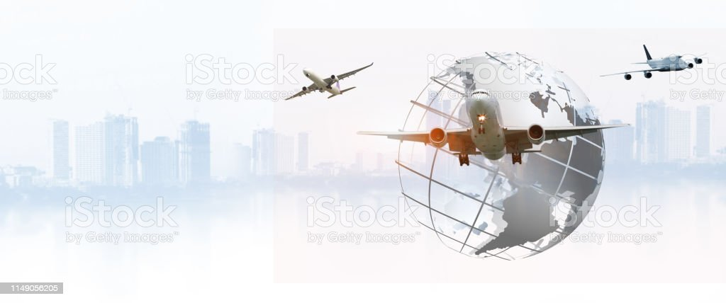 Airplane is flying over the sky for Business trip , Transportation,...
