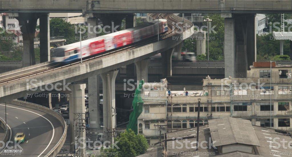 Transporte en Bangkok, centro en el centro de la ciudad - foto de stock
