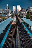 Subway train - Transportation in Chicago, IL. The city is visible on the background