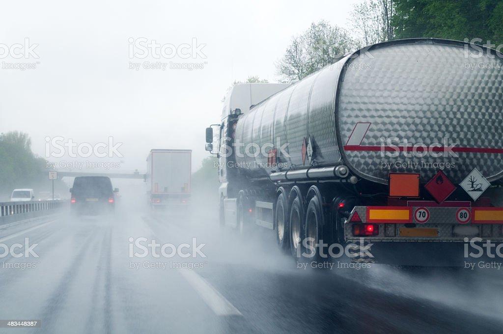 Transportation In Heavy Rain stock photo