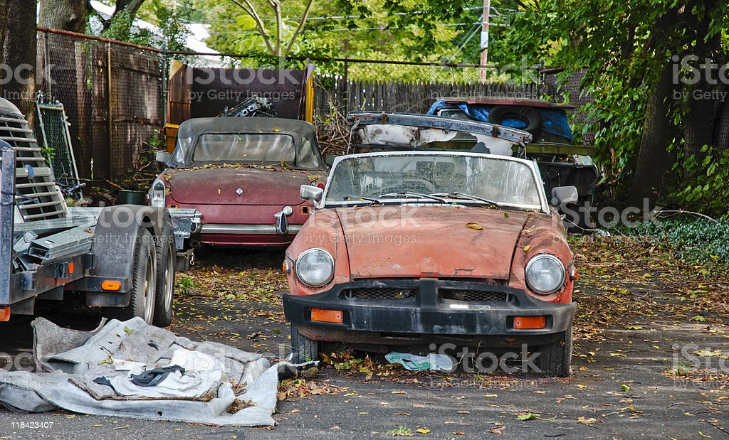 Transportation; Junk in the back yard stock photo