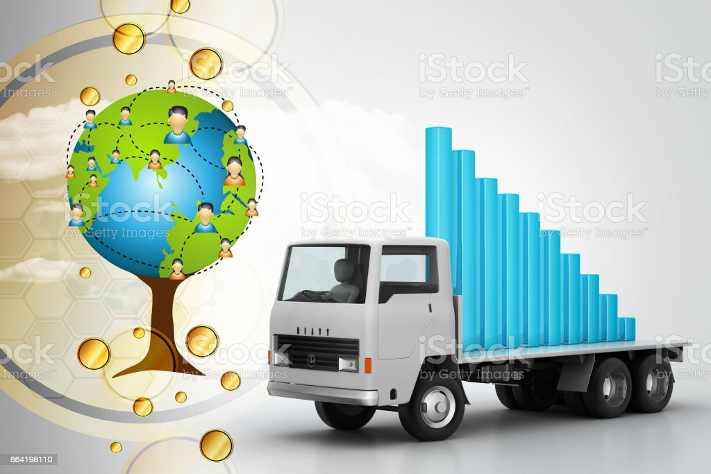 Transportation of business graph in  truck royalty-free stock photo