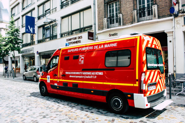 Transportation of France Reims France July 23, 2018 View of a French fire engine in the street of Reims in the afternoon marne stock pictures, royalty-free photos & images