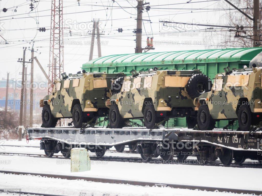 Odintsovo, Russia - January 22, 2017. Transportation of military...