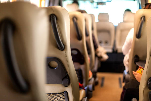 Transportation of people in a minibus stock photo