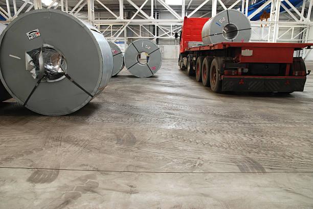 Transportation of sheet steel stock photo