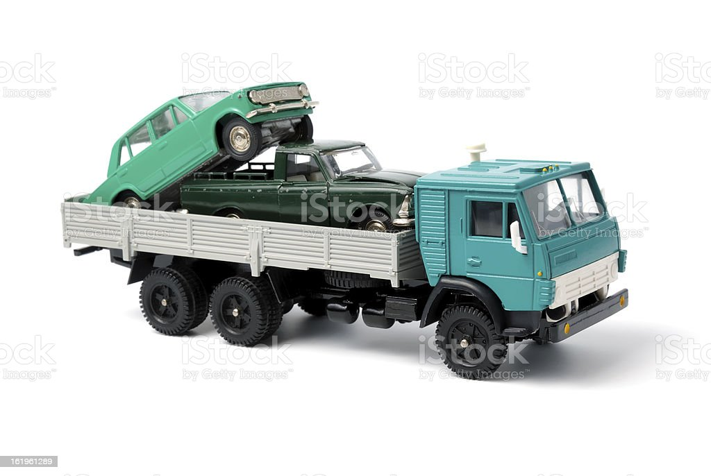 Transportation of toy cars for disposal royalty-free stock photo