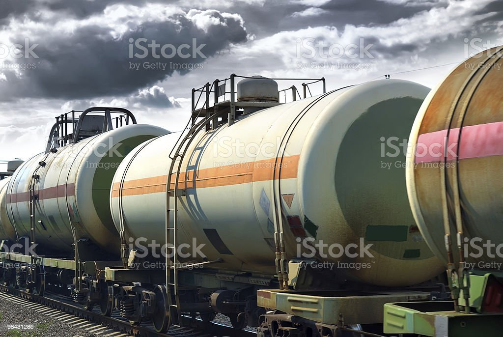 Transportation oil tanks by rail royalty-free stock photo