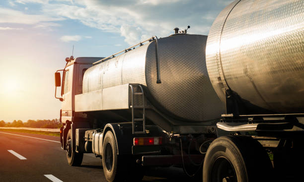 Transportation service and logistic. Truck on  highway pulling load. diesel stock pictures, royalty-free photos & images
