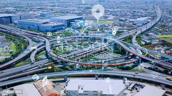 1140961203 istock photo Transportation technology concept. Intelligent Transport Systems. 1181551802