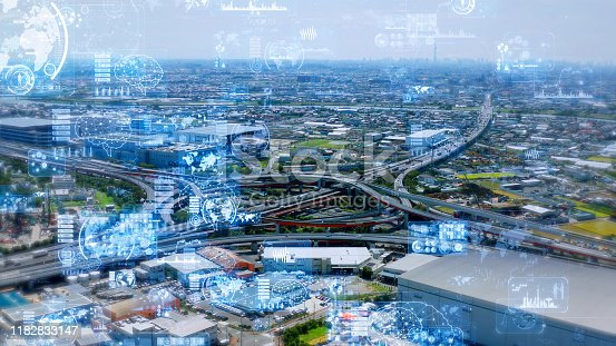 668312520 istock photo Transportation technology concept. Intelligent Transport Systems. 1182833147