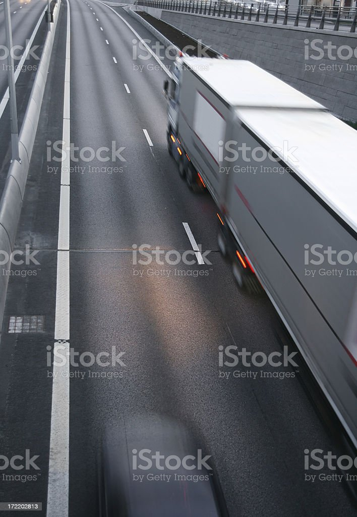 Transportation truck in motion stock photo