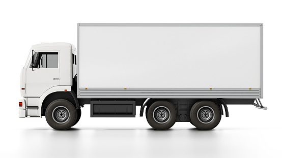 Transportation truck with blank copy space isolated on white.