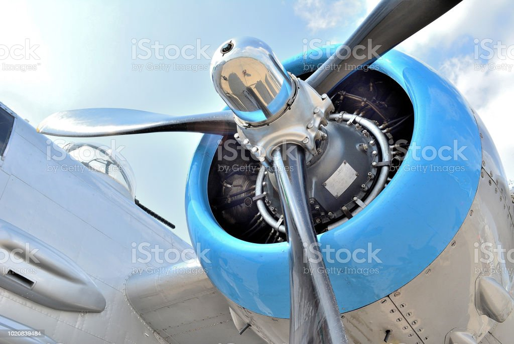 Transportation, 'Vintage B-25 Radial Engine and Propeller' - foto stock